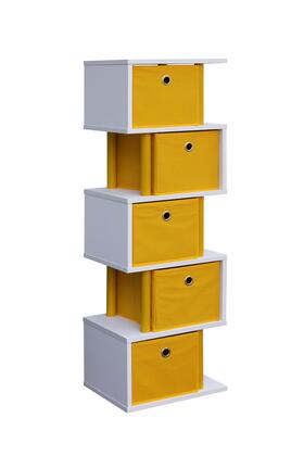 Santa Monica Collection 99822 Zig Zag Storage with 5 Canvas Drawers and Color Coordinated Decorative Plastic Piping in