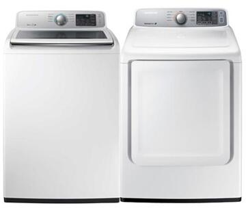 "White Front Load Laundry Pair with WA45M7050AW 27"""" Top Load Washer and DV45H7000EW 27"""" Electric"" 840343"