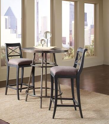 Vintage Tempo 402244SETA 3 PC Bar Table Set with Pub Table + 2 Bar Stools in Black