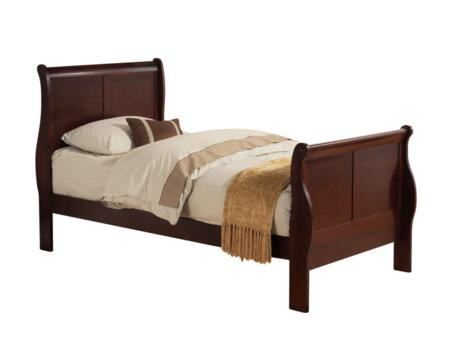 Louis Philippe III Collection 19530T Twin Size Bed with Sleigh Headboard  Solid Pine Wood and Gum Veneer Construction in Cherry
