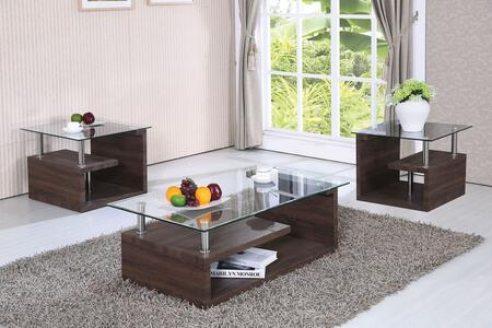 Alfie 80405CE 3 PC Living Room Table Set with Coffee Table + 2 End Tables in Dark Oak