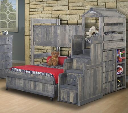 3514269-4274 Twin Over Full Loft Bed with Stairway Chest in