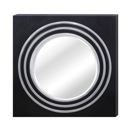 MW8060-0003 Square Frame Round Mirror in Bright Silver Leaf And Gloss Black