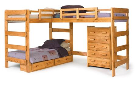 3662008-S L Shaped Loft Bed with Underbed Storage