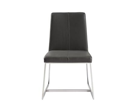 DC1271PGRYSJF Egypto Dining Chair  Dark Gray Faux Leather  Polished Stainless Steel