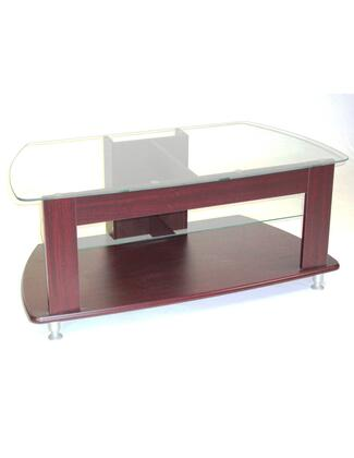 64603 45 inch  TV Entertainment Stand with 3/8 inch  Thick Glass Top and 1 Adjustable Glass Shelf in