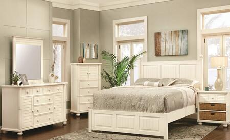 Ice Cream At The Beach Collection CF-1701-0111-Q-5PC 5-Piece Queen Bedroom Set with Panel Bed  Dresser  Mirror  Nightstand and Chest in Antique White and