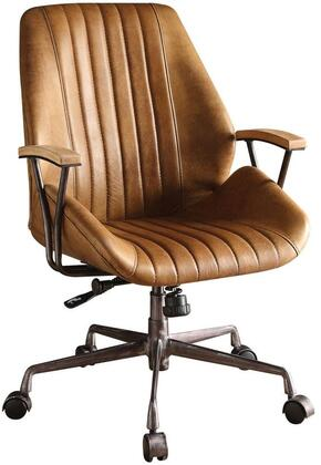 Hamilton Collection 92412 Executive Office Chair with Swivel Seat  Adjustable Height  5-Star Caster Base  Wooden Armrest  Metal Frame and Top Grain Leather
