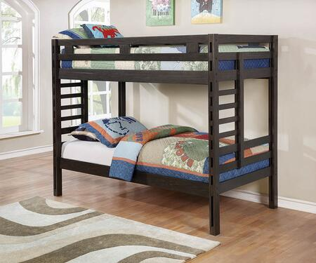 Hilshire Collection 461150 Twin Size Bunk Bed with Full Length Guardrails  Built-In Ladders and Sturdy Wood Construction in Dark