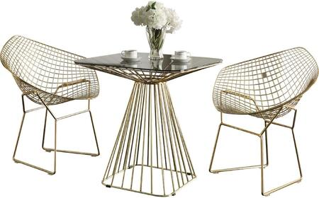Rianne Collection 71965SET 3 PC Dining Room Set with Square Shaped Dining Table and 2 Arm Chairs in Gold