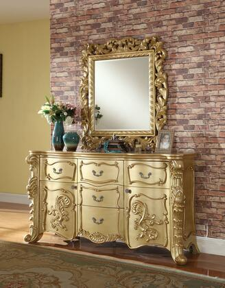 "Zelda Collection ZELDA-D 70"" Dresser with Carved Detailing  Decorative Hardware and Traditional Style in Rich Gold"