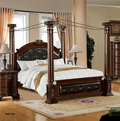 Mandalay Collection CM7271EK-BED Eastern King Size Poster Canopy Bed with Baroque Style  Leatherette Upholstery  Solid Wood and Wood Veneers Construction in