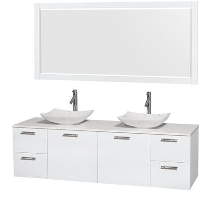 Wcr410072dgwwsgs6m70 72 In. Double Bathroom Vanity In Glossy White  White Man-made Stone Countertop  Arista White Carrera Marble Sinks  And 70 In.