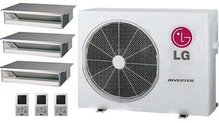 LMU24CHVPACKAGE20 Triple Zone Mini Split Air Conditioner System with 27000 BTU Cooling Capacity  3 Indoor Units  and Outdoor