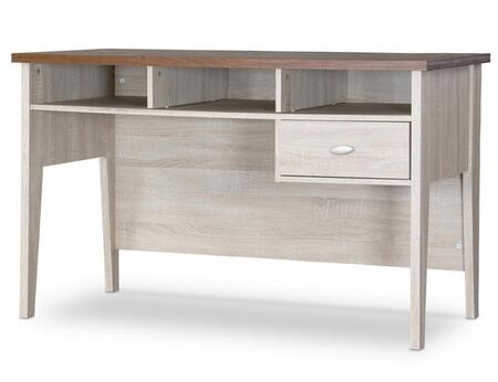 Baxton Studio SD-04-Oak Tyler Writing Desk with 1 Drawer  3 Open Storage Spaces  Metal Drawer Pulls and Engineered Wood