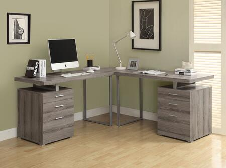 I 7326-3 3-PC L-Shaped Computer Desk Set with 2x Left/Right Facing Desks and 1 Corner Piece in Dark
