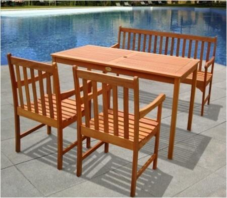 V98SET16 Outdoor Wood English Garden Dining Set