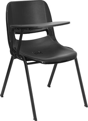RUT-EO1-BK-RTAB-GG Black Ergonomic Shell Chair with Right Handed Flip-Up Tablet