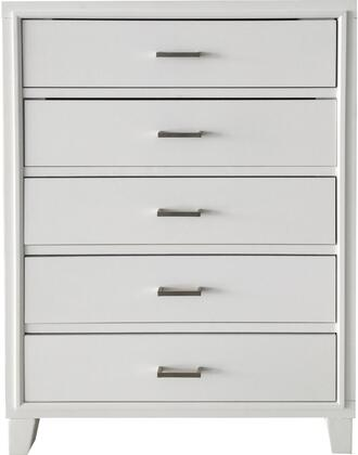 Tyler Collection 22546 34 inch  Chest with 5 Drawers  Center Metal Drawer Glide  Brushed Nickel Hardware  Rubberwood and Gum Veneer Materials in White