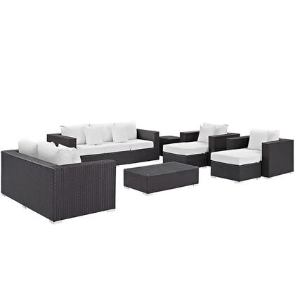 Convene Collection EEI-2161-EXP-WHI-SET 9-Piece Outdoor Patio Sofa Set with Rectangle Ottoman  Loveseat  Sofa  2 Armchairs  2 Ottomans and 2 Side Tables in