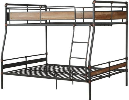 Brantley II Collection37735 Full XL Over Queen Size Bunk Bed with Slat System Included  Easy Access Guardrail  Fixed Front Ladder and Metal Construction in