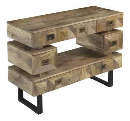 75330 46 inch  Console with Seven Drawers  U-Shaped Metal Legs and Open Center Shelf in Kerala Natural