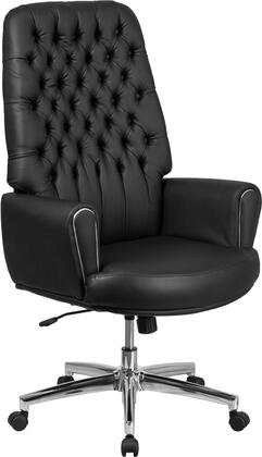 BT-444-BK-GG High Back Traditional Tufted Black Leather Executive Swivel Chair with