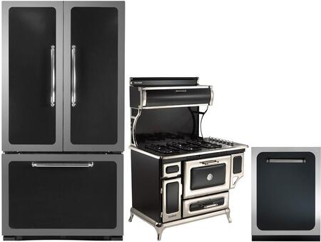 3-Piece Black Kitchen Package with HCFDR23BLK 36 inch   French Door Refrigerator  5210CDGBLK 48 inch  Freestanding Dual Fuel Range  and HCTTDWBLK 24 inch  Fully Integrated