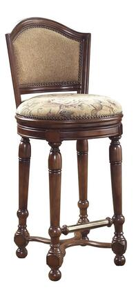 565501 Carlton Manor Swivel Bar Stool with Curved Arched Back  Turned Legs  Beige Upholstered Seat and Back in Brown