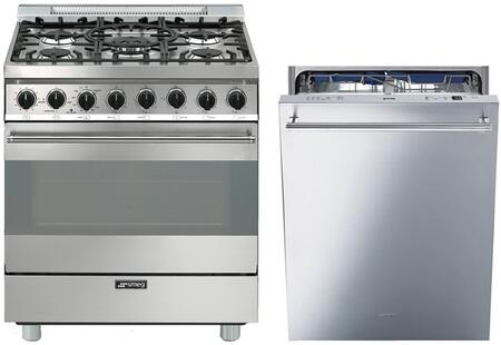 2-Piece Stainless Steel Kitchen Package with C30GGXU1 30 inch  Freestanding Gas Range and STU8647X 24 inch  Fully Integrated