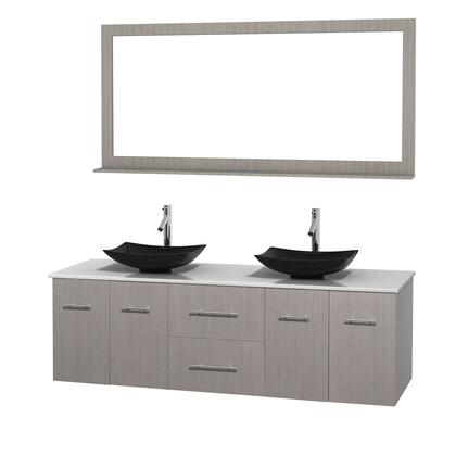Wcvw00972dgowsgs4m70 72 In. Double Bathroom Vanity In Gray Oak  White Man-made Stone Countertop  Arista Black Granite Sinks  And 70 In.