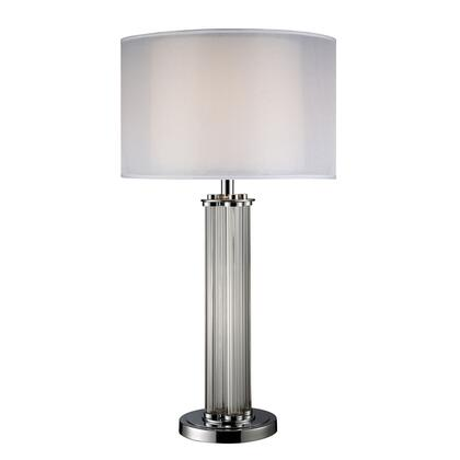 D1614 Hallstead Table Lamp In Chrome With Silver Organza