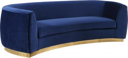 Julian 620Navy-S Sofa with Velvet Upholstery  Gold Stainless Steel Base and Curved Back Design in