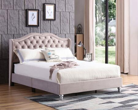 G1935-KB-UP Joy Collection King Size Upholstered Bed with Button Tufting Details  Velvet Fabric  Turned Legs  and Nail Head Accents  in