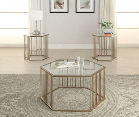 Oaklie 81240CE 3 PC Living Room Table Set with Coffee Table + 2 End Tables in Champagne Metal