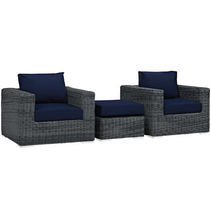 Summon Collection Eei-1905-gry-nav-set 3-piece Outdoor Patio Sunbrella Sectional Set With 2 Armchairs And Ottoman In Canvas
