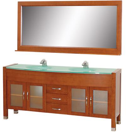 WCV220071CHGR 71 in. Double Bathroom Vanity in Cherry with Green Glass Top with Green Integral Sinks and 70.75 in.