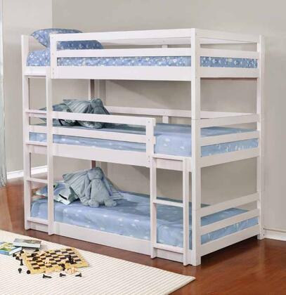 Sandler Collection 401302 Twin Size Triple Bunk Bed with Modular Design  Slat Kits Included and Solid Pine Wood Construction in
