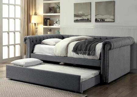Leanna Collection CM1027GY-F-BED Full Size Daybed with Trundle Included  Button Tufted  Nail Head Trim  Rolled Arms  Wood Veneers Construction and Linen-Like
