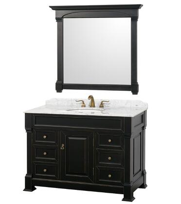 WCVTS48BLCW 48 in. Single Bathroom Vanity in  Antique Black with White Carrera Marble Top with White Undermount Sink and 44 in.