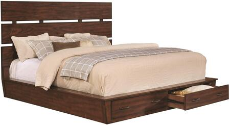 Artesia Collection 204470KE King Size Storage Platform Bed with Drawers  Plank Headboard  Asian Hardwood and Mindy Veneer Construction in Dark Cocoa
