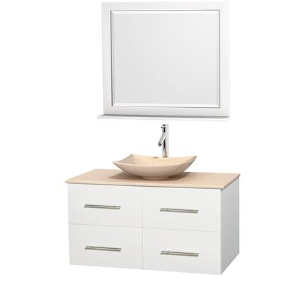 Wcvw00942swhivgs5m36 42 In. Single Bathroom Vanity In White  Ivory Marble Countertop  Arista Ivory Marble Sink  And 36 In.