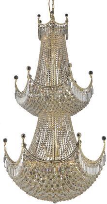 V8949G36G/SS 8949 Corona Collection Chandelier D:36In H:66In Lt:36 Gold Finish (Swarovski   Elements