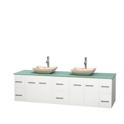 Wcvw00980dwhgggs2mxx 80 In. Double Bathroom Vanity In White  Green Glass Countertop  Avalon Ivory Marble Sinks  And No