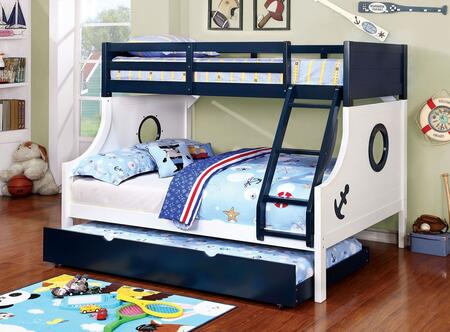 Nautia Collection CM-BK629-BED+TR Twin Over Full Size Bunk Bed with Trundle  Nautical Style  Anchor Decals  Attached Angled Ladder  Solid Wood and Wood Veneers