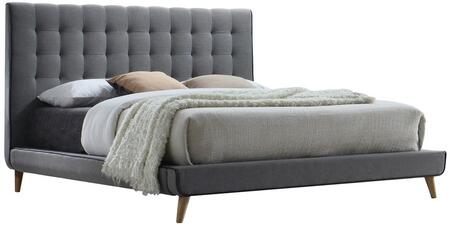 Valda Collection 24520Q Queen Size Bed with Low Profile Footboard  Natural Tapered Legs  Engineered Wood Construction  and Fabric Upholstery in Light Grey