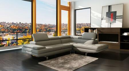 LN-308-LG 109 inch  2-Piece Sectional Sofa with High Quality Eco-leather Seating  Extra Thick Cushioning  and Tufted Details in Light