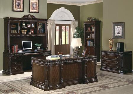Tucker 800800SETA 5 PC Home Office Set with Executive Desk + Credenza Desk + Hutch + File Cabibet + Bookcase in Rich Brown