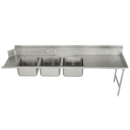 """DTC-3-1620-84R-X Three-Compartment Dishtable with 15"""""""" Right Drainboard in Stainless"""" 689175"""