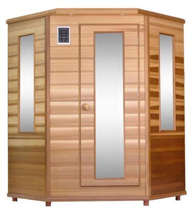 ASE CORNER Infrared Sauna with Flat Bench  Low EMF Trulnfra Heater  Low EMF Tecoloy M Heater  Floor Heater and Sound System in Cedar